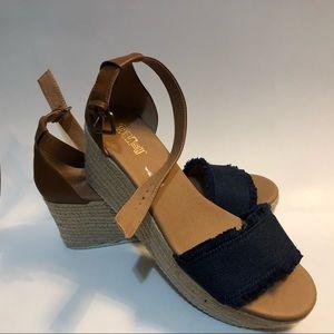 Denim and Rope Platform Sandal by Brash